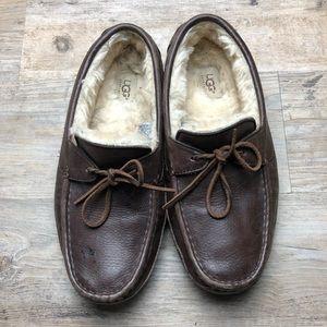 Ugg men's dark brown leather Byron slippers